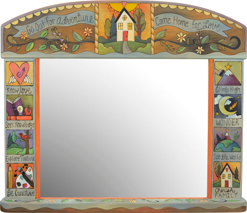 """Go out for adventure come home for love"" elegantly painted boxed icon motif mirror"