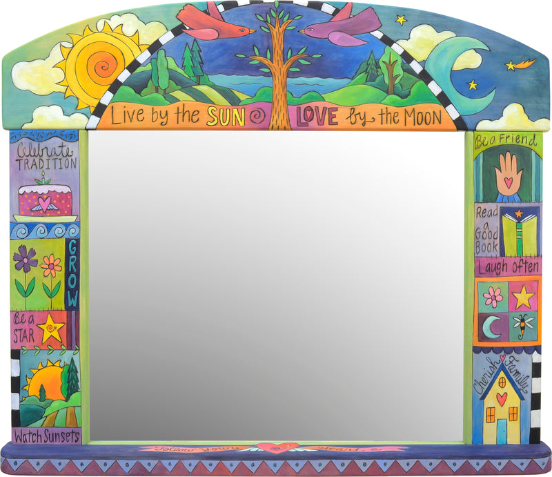 "Beautiful jewel tone ""live by the sun, love by the moon"" crazy quilt mirror motif"