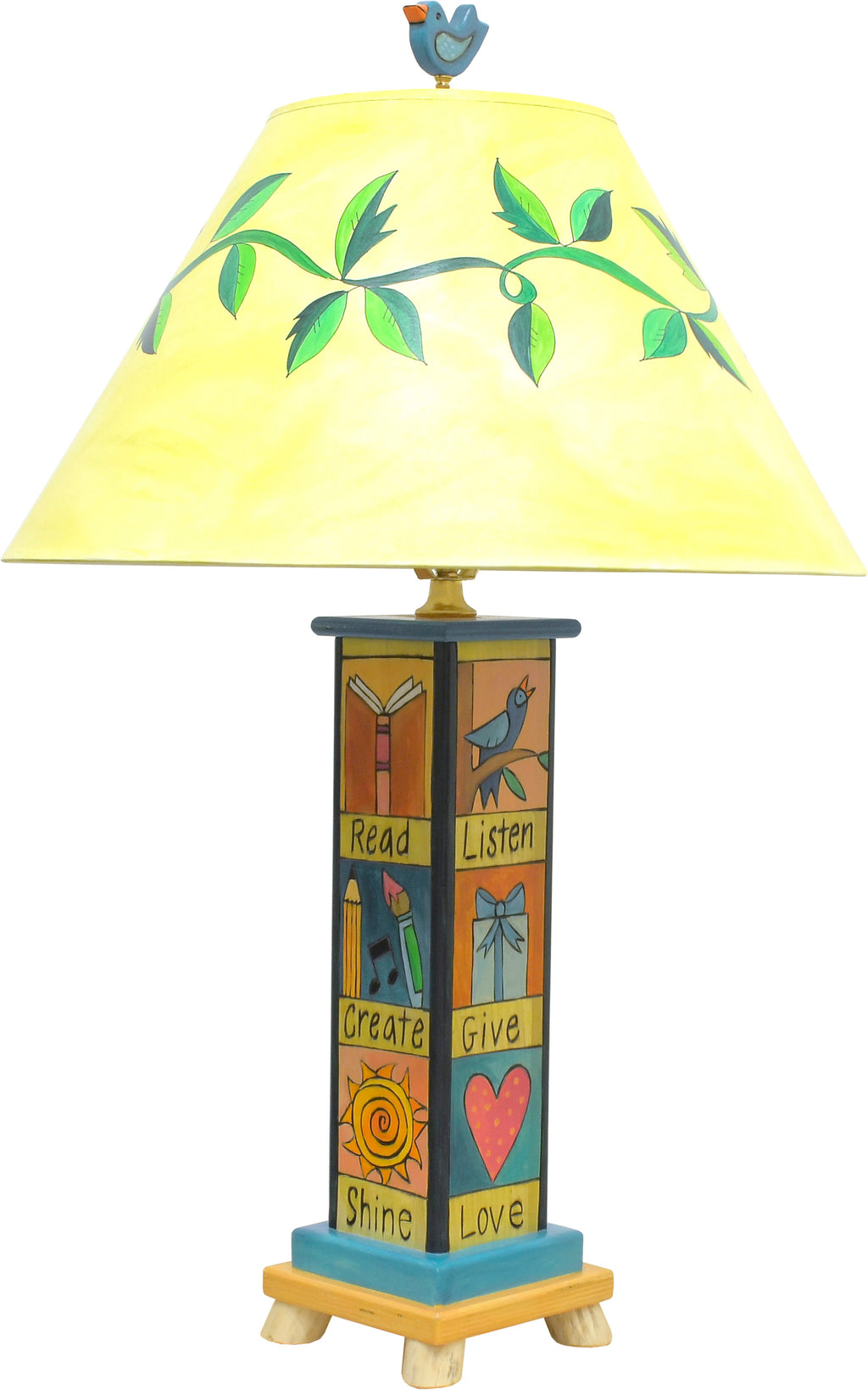 Fun and folky table lamp with vine-wrapped shade, bird finial, and base with cute boxed icons and coordinating phrases, front view