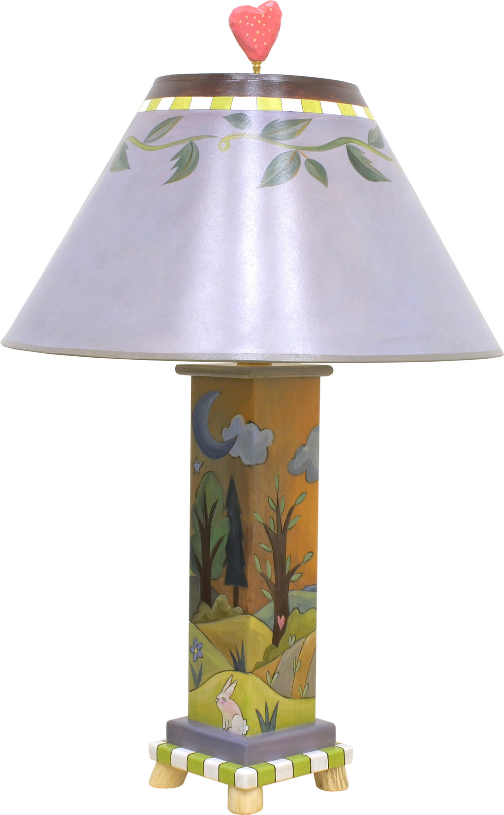 Contemporary lamp with simple vine shade and rolling hills landscape on its base, front side