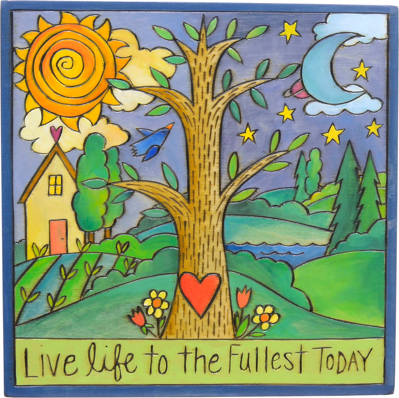 "10""x10"" Plaque –  ""Live life to the fullest today"" tree of life in a beautiful landscape plaque motif"