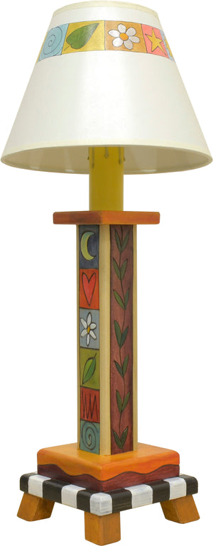 Milled Candlestick Lamp –  Cute and traditional boxed icon and vine lamp design