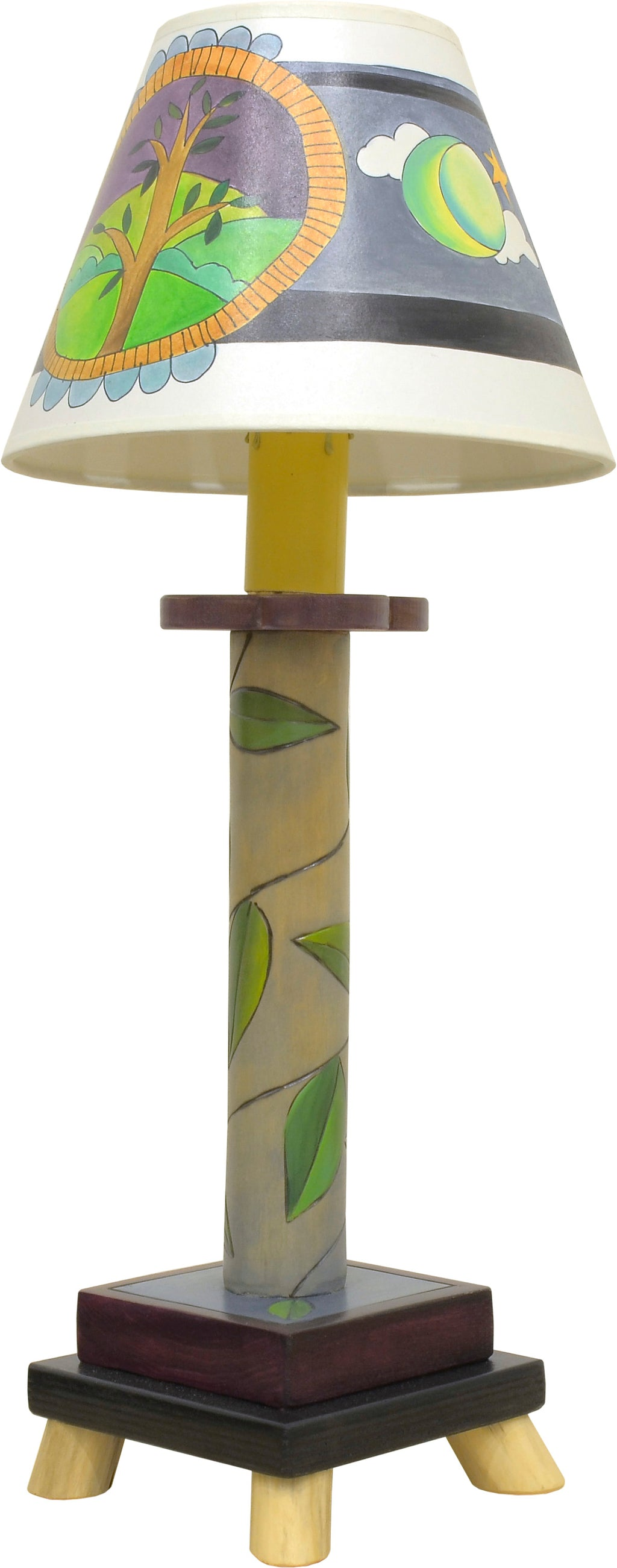 Lovely lamp with a vine-wrapped base and day and night tree of life shade motif, front view