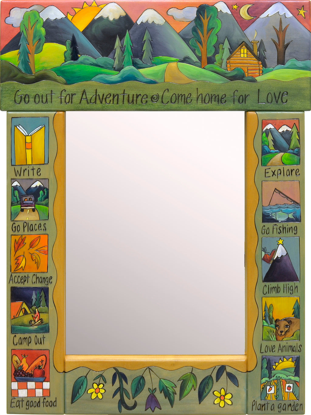 """Go out for adventure, come home for love"" mountainous wildlife mirror motif"