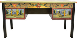 "Large Desk –  ""Seek knowledge, read books"" desk with boxed icons and lovely landscape motifs all over"