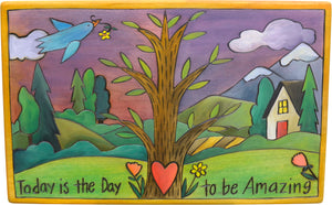 "Step Stool –  Pretty ""today is the day"" tree of life in a landscape motif"