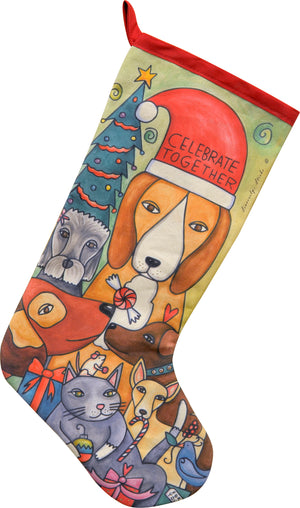"""Stirring Creatures"" Canvas Stocking – ""Celebrate together"" family pets during the holidays motif front view"