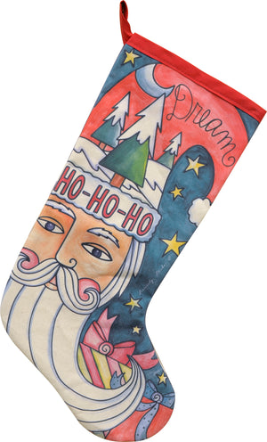 """Santa Baby"" Canvas Stocking – ""Dream"" Santa in a winter-y night bringing gifts front view"