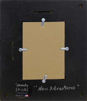 """New Adventures"" Picture Frame – Gift a recent graduate this festive frame to celebrate their achievements back view"