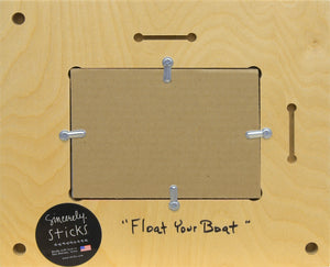 """Float Your Boat"" Picture Frame – Frame with sunny beach and sailboat motif back view"