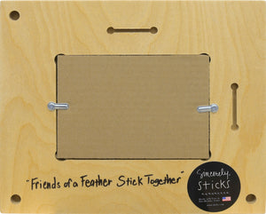 """Friends of a Feather Stick Together"" Picture Frame – ""Cherish Friends"" frame with sunset over the water motif back view"