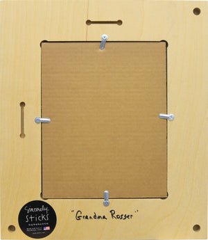 """Grandma Rosser"" Picture Frame – ""Live Life to the Fullest"" frame with sun, moon and home motif back view"