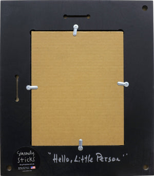 """Hello, Little Person"" Picture Frame – ""Welcome, Baby"" frame with sun, moon and home motif back view"