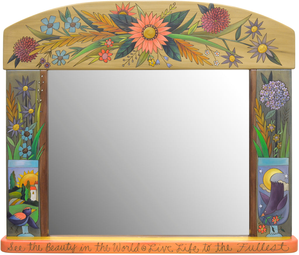 "Large Horizontal Mirror –  Beautiful ""see the beauty in the world"" floral motif mirror"