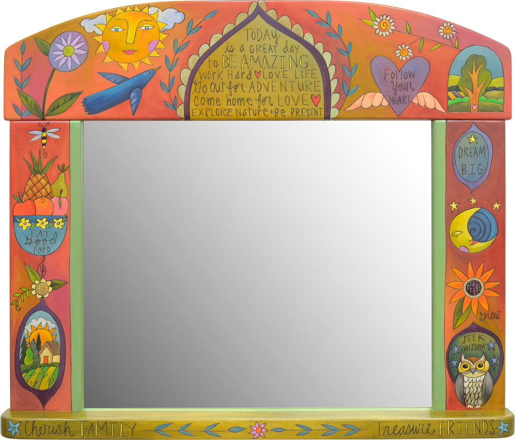 "Large Horizontal Mirror –  ""Today is a great day to be amazing"" floating icon and medallion motifs with a bohemian vibe"