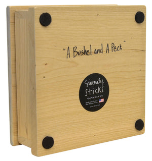 """A Bushel and a Peck"" Keepsake Box – Love birds soaring around a heart in the sky back view"