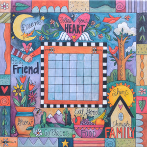 """This Sweet Life"" Perpetual Calendar – Cute ""follow your heart"" floating icon and crazy quilt mashup motif on a canvas calendar without magnets"
