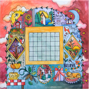 """Life's Moments"" Perpetual Calendar – Crazy quilt canvas calendar in a four seasons motif front view without magnets"