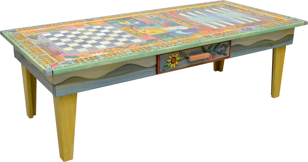 Urban Game Table –  Fun and festive general four seasons landscape theme done in a crazy quilt format
