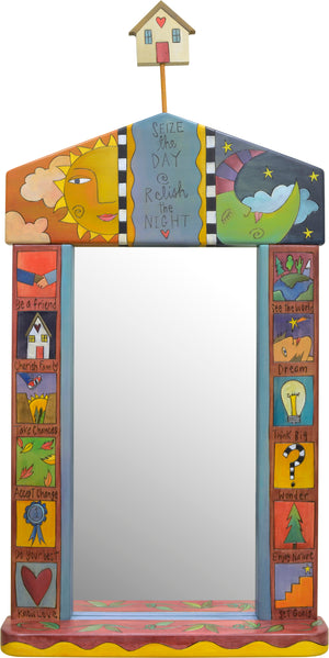 Large Mirror –  Celestial large mirror top motif with charming boxed icons down the sides