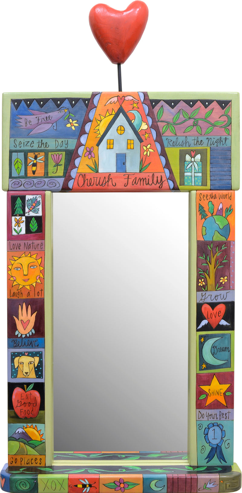 "Large Mirror –  ""Cherish Family"" crazy quilt design mirror"