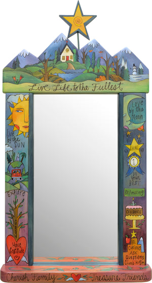 "Large Mirror –  ""Live life to the fullest"" mountain top floating icon mirror motif"