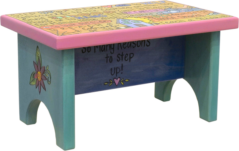 "Step Stool –  ""So many reasons to step up!"" step stool design"