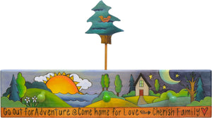 2' Coat Rack –  Cool-toned landscape scene along a body of water with a bird in a pine tree dodad accent