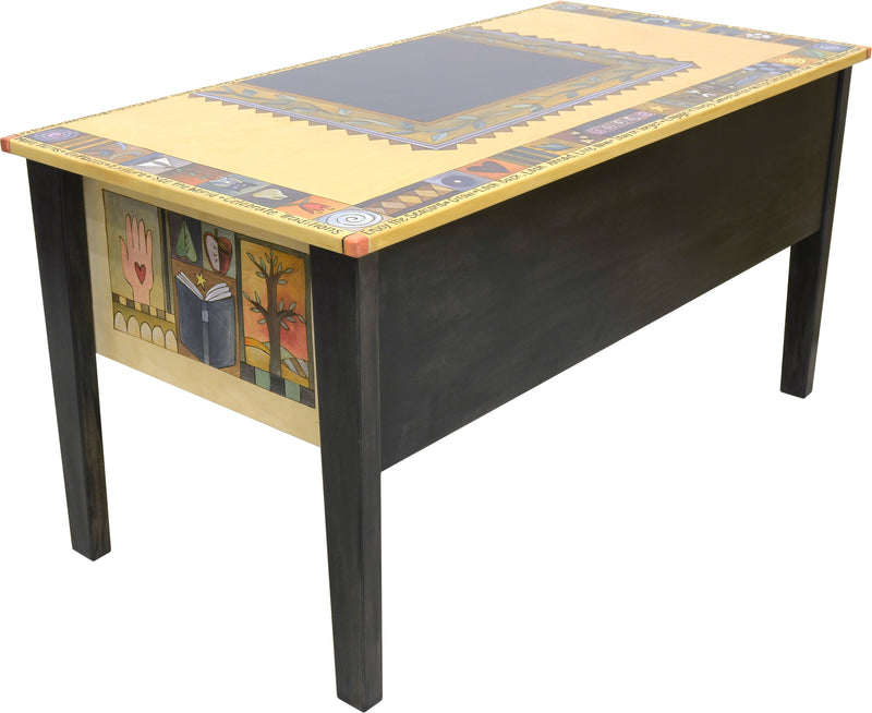 Large Desk –  Beautiful and vibrant oversized desk with a four seasons landscape and coordinating floral designs
