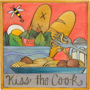 "10""x10"" Plaque –  ""Kiss the cook"" food themed plaque with well balanced meal motif"