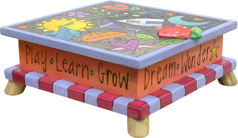 """Dream, wonder"" colorful keepsake box design perfect for the creative kiddo in your life"