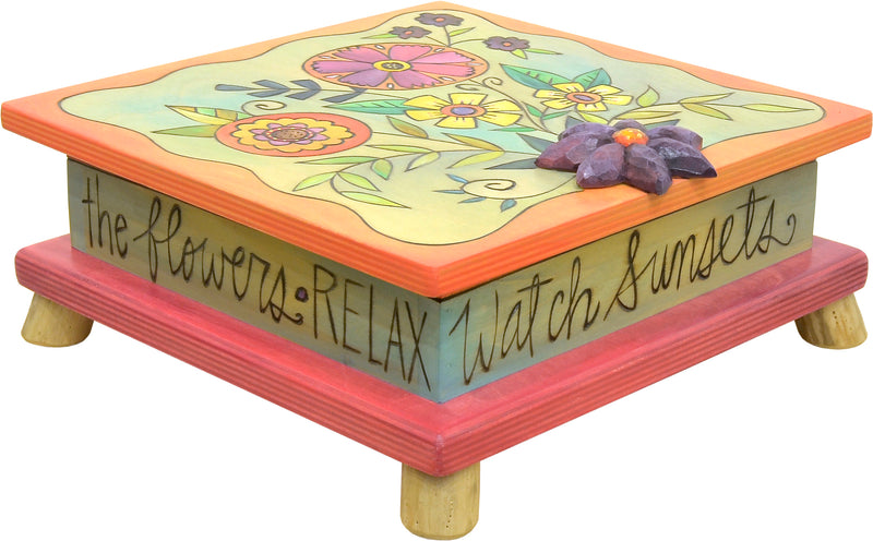 """Take time to smell the flower"" beautiful floral bouquet keepsake box motif"