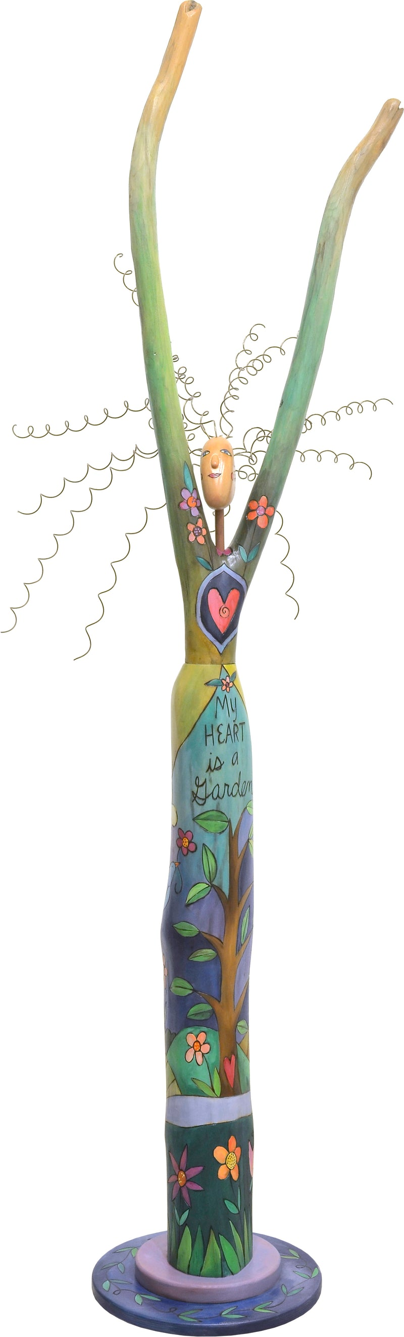 """My heart is a garden"" lady with a tree of life and heart medallion motifs"