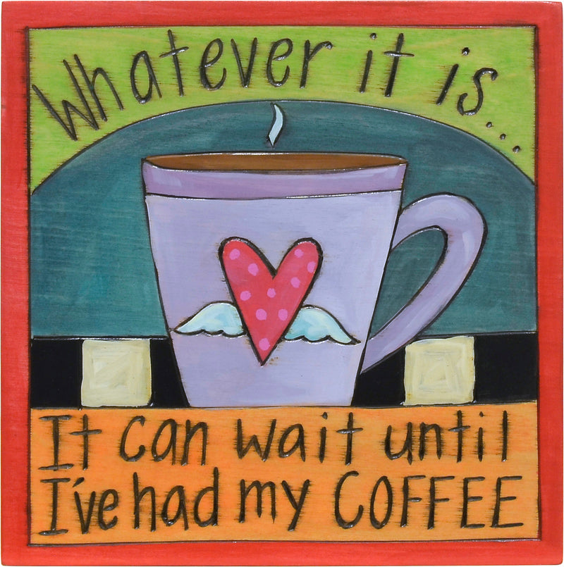 Sassy coffee quote plaque with a cute polka-dotted heart with wings mug