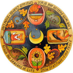 Beautiful fall icon medallion motif lazy susan