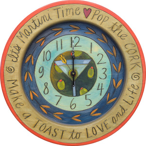 """It's 5 o'clock somewhere"" celebratory drink clock motif"