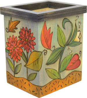 Fall foliage with leaves falling about motif box vase, reverse side