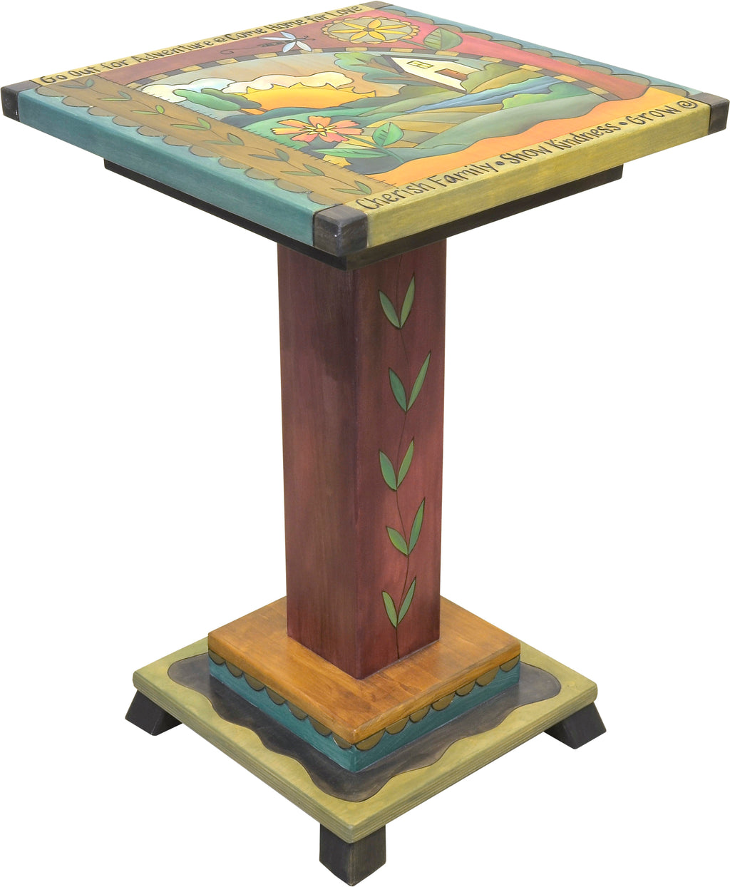 Handsome landscape motif end table with creeping vine on pedestal that also frames the top design