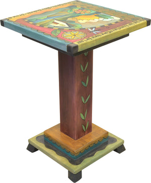 Handsome landscape motif end table with creeping vine on pedestal that also frames the top design, reverse side