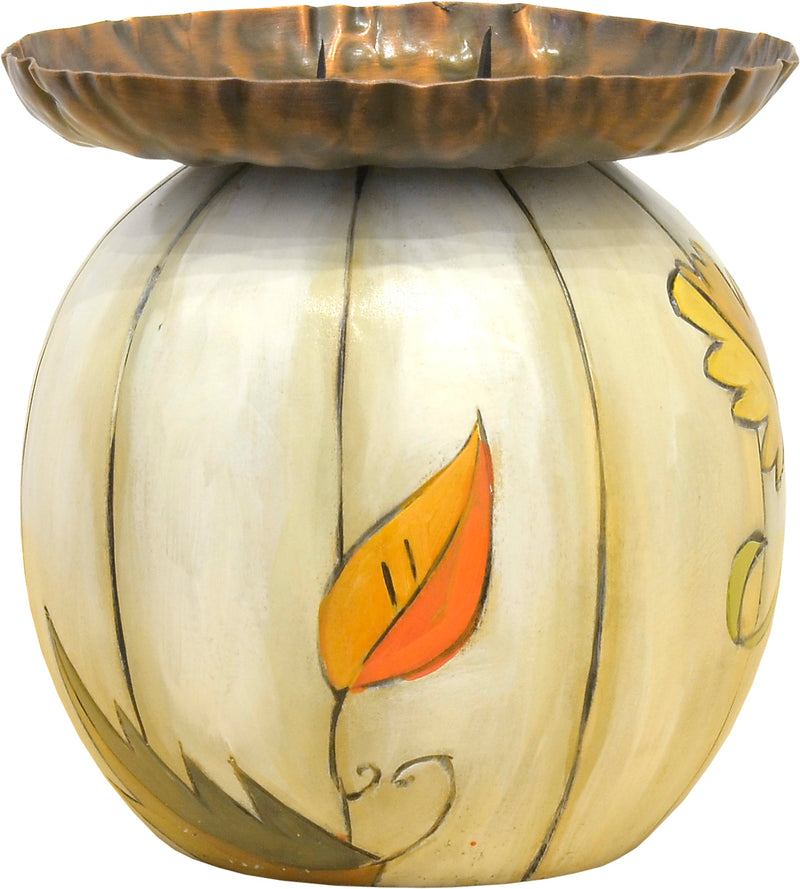 Cute ivory pumpkin ball candle holder with smaller gourds motif candle holder
