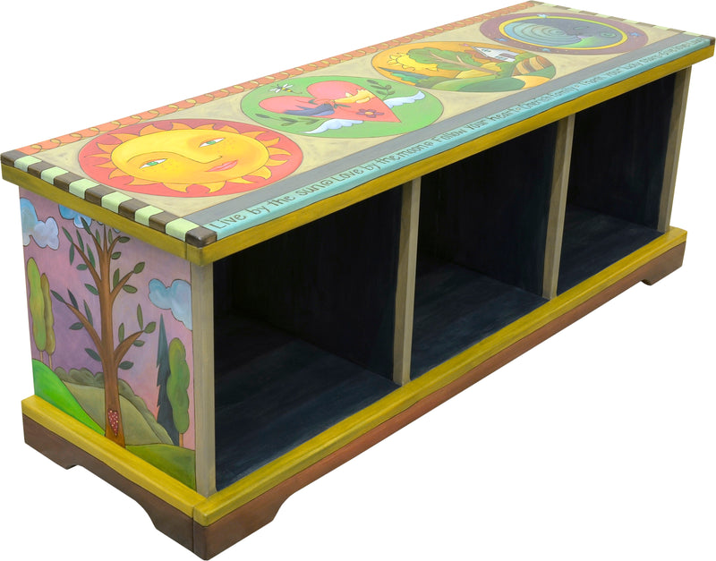 Storage Bench with Boxes –  Circled icons bench seat motif with tree of life scenes on the sides