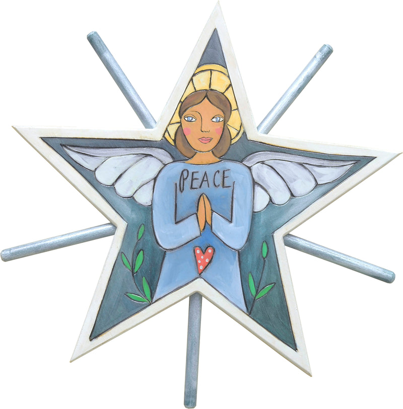 """Peace"" angel tree star motif done in soft blues and silver"