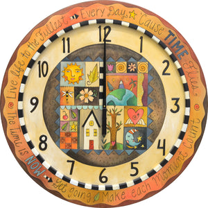 Warm, elegant clock with crazy quilt patches in its center