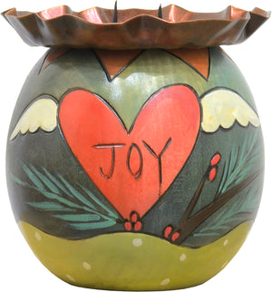 "Cute winter cardinal and ""joy"" heart motifs"