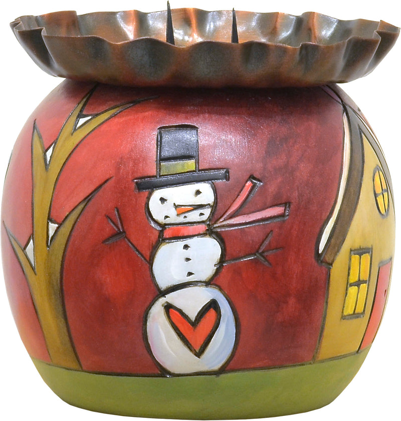 Festive Christmas floating icon candle ball holder design