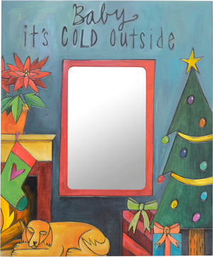 """Baby it's cold outside"" photo frame with a dog snuggled by a fire design"