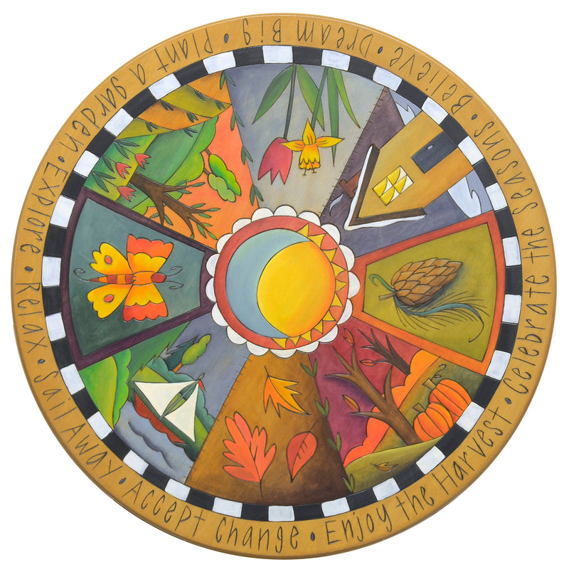 "20"" Lazy Susan –  Warm, elegantly painted four seasons lazy susan in a pie piece layout"