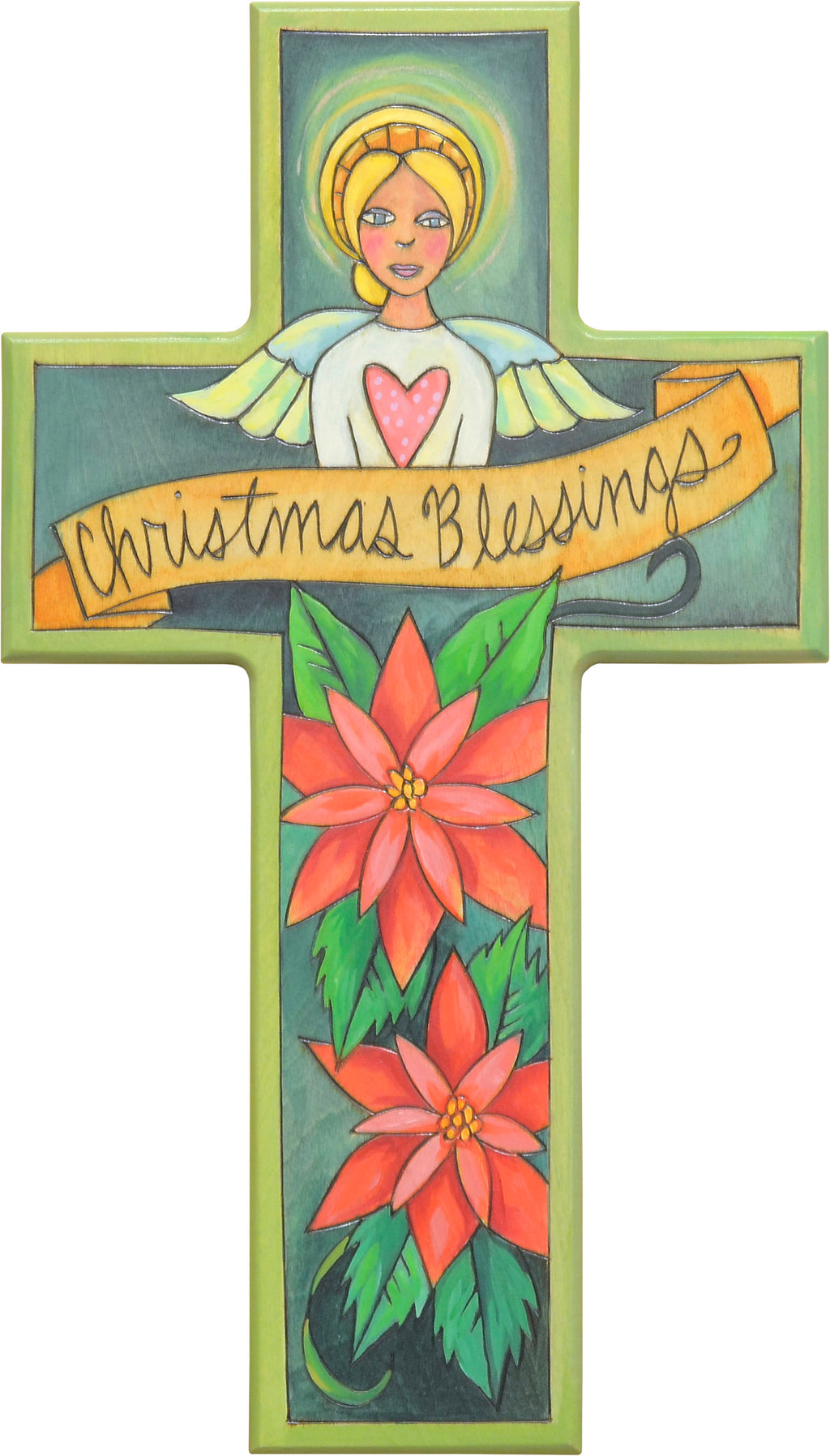 "Festive ""Christmas blessings"" cross motif with a glowing Christmas angel and poinsettias below"