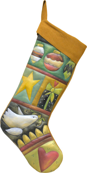 Crazy quilt Christmas stocking in a subtle palette