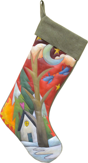 Love birds flying above a snow-filled landscape stocking motif